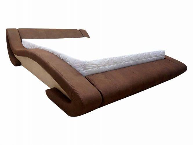 Nowoczesne tapicerowane łóżko brązowe