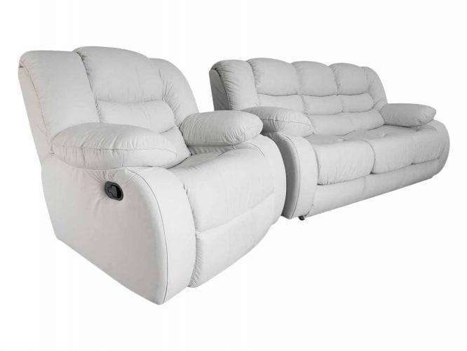 Biała kanapa skózana z fotelem