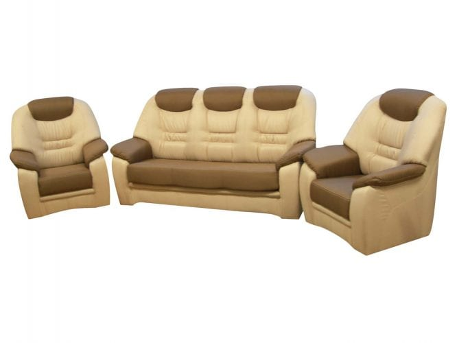 Komplet skórzany wypoczynek fotel i sofa