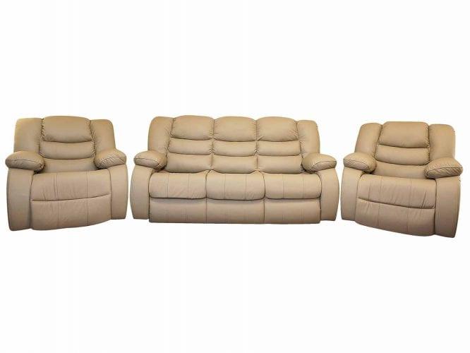 Kremowa sofa z dwoma fotelami