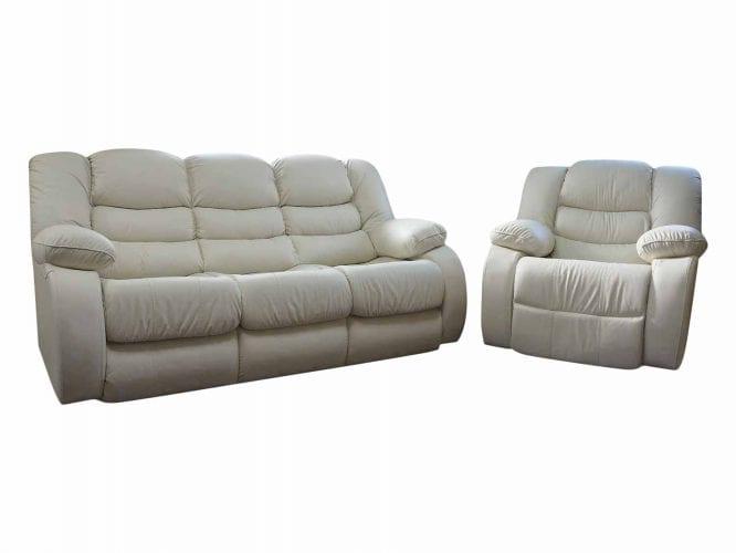 Skórzany wypoczynek z fotelami