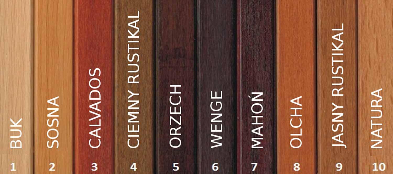 Kolor wybarwienia drewna