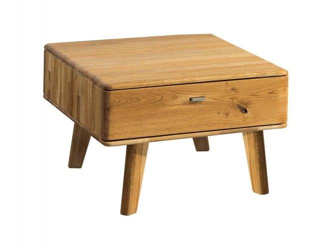 Mała drewniana ława z szufladą