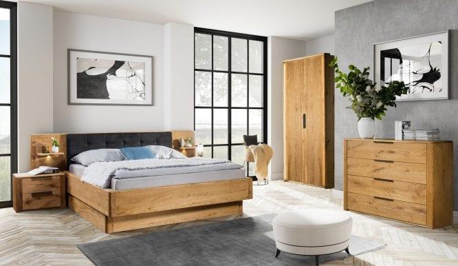 Sypialnia drewniana dębowa mała zz dwudrzwiową szafa